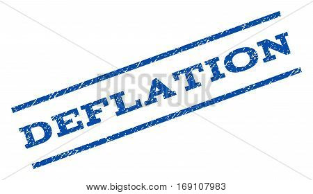 Deflation watermark stamp. Text caption between parallel lines with grunge design style. Rotated rubber seal stamp with dirty texture. Vector blue ink imprint on a white background.