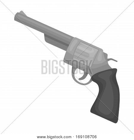Revolver icon in monochrome design isolated on white background. Rodeo symbol stock vector illustration.