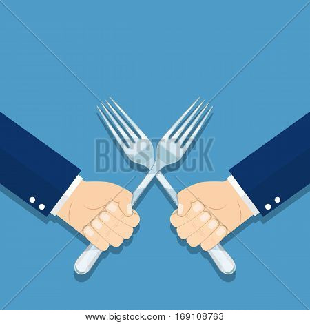 Business war, struggle, competition concept. Solution of conflict fight with forks. Man holding a fork in his hand. vector illustration in flat style.
