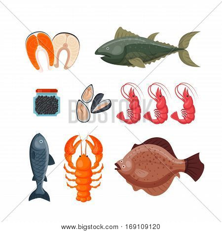 Seafood flat tasty cooking delicious vector illustration. Can be used for layout, advertising and web design. Gourmet restaurant meal raw or prepared diet marine ingredient.