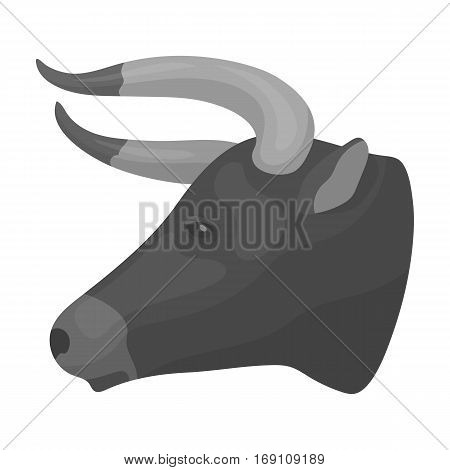 Head of bull icon in monochrome design isolated on white background. Rodeo symbol stock vector illustration.