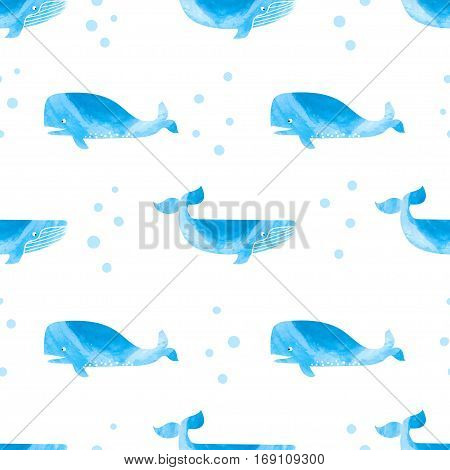 Whales blue seamless pattern. Vector marine illustration.