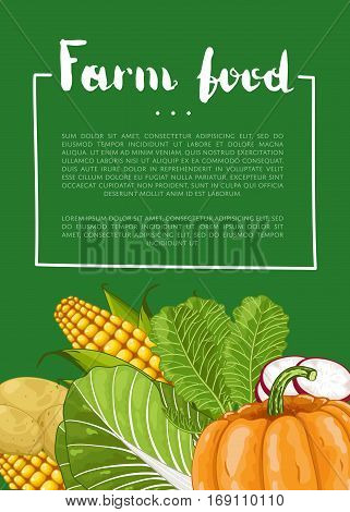 Organic farm food banner vector illustration. Fresh natural vegetable, organic farming retail, vegan product store poster. Healthy farm food advertising with corn, pumpkin, potatoes, cabbage, radish