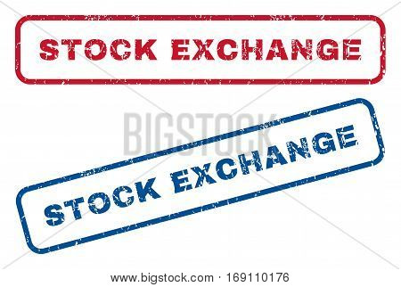 Stock Exchange text rubber seal stamp watermarks. Vector style is blue and red ink tag inside rounded rectangular shape. Grunge design and scratched texture. Blue and red stickers.