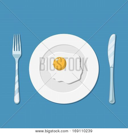 Healthy nutritious breakfast. Plate, knife and fork with fried egg icon. vector illustration in flat style