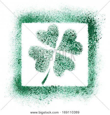 Shamrock graffiti - Green stenciled four leaf Irish clover