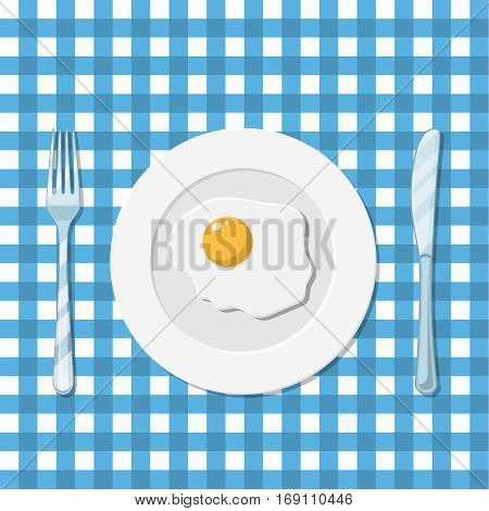 Healthy nutritious breakfast. Plate, knife and fork with fried egg on a blue tablecloth in a cage. vector illustration in flat style