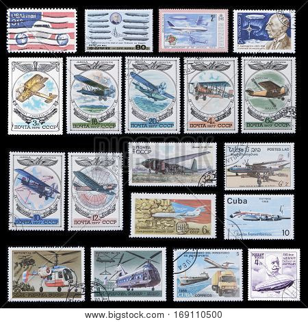 postage stamps with images of airplanes airships and helicopters. Of 1970-1980 from different countries