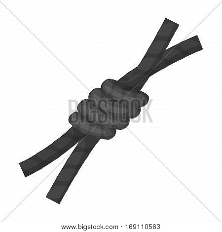 Node lasso icon in monochrome design isolated on white background. Rodeo symbol stock vector illustration.