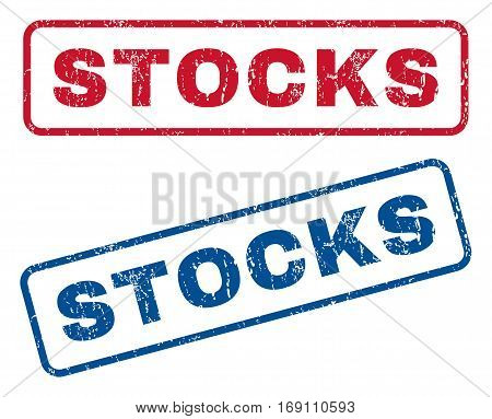 Stocks text rubber seal stamp watermarks. Vector style is blue and red ink tag inside rounded rectangular banner. Grunge design and dirty texture. Blue and red signs.