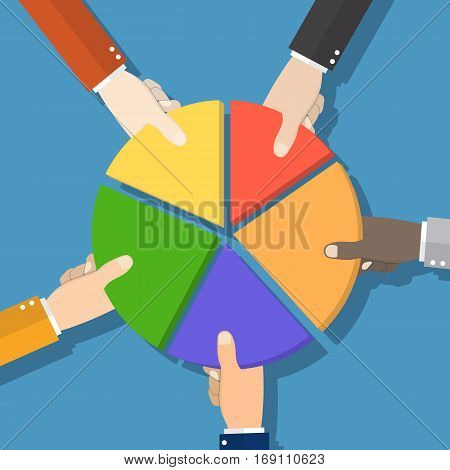 Five Businessmen Hands picking pie chart parts. Financial, market concepts. vector illustration in flat design