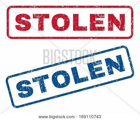 Stolen text rubber seal stamp watermarks. Vector style is blue and red ink tag inside rounded rectangular banner. Grunge design and dust texture. Blue and red emblems.
