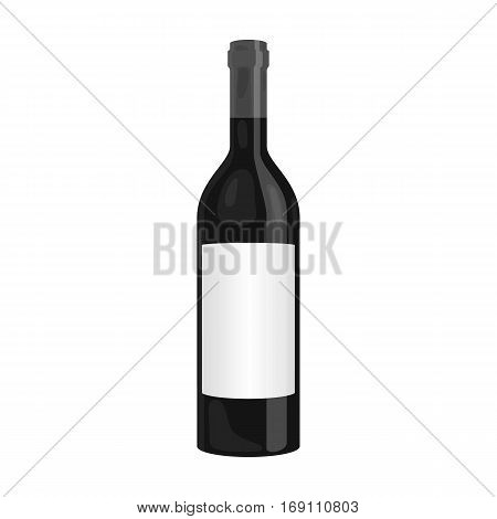 Bottle of red wine icon in monochrome design isolated on white background. Wine production symbol stock vector illustration.