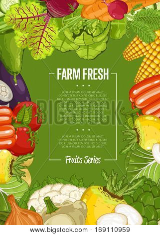 Fresh farm food banner vector illustration. Natural vegetable, organic farming retail, vegan product store poster. Healthy farm food advertising with corn, pepper, radishes, eggplant, tomato, cabbage