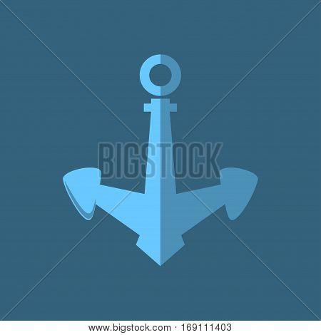 Blue Anchor, Flat Design ,Ship Equipment, Illustration