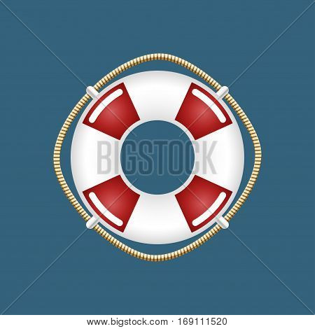Lifebuoy ,Travel Concept, Ship Equipment on Blue, Illustration