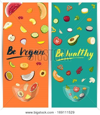 Be vegan, be healthy flyer vector illustration. Fresh natural product, healthy lifestyle, vegetarian nutrition, organic diet, eco farming. Vegan healthy food concept with pieces of fruit and vegetable