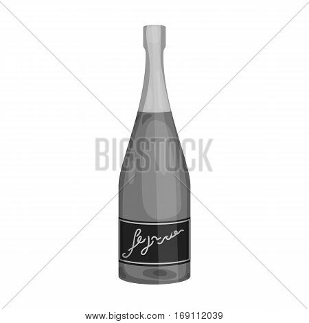 Bottle of champagne icon in monochrome design isolated on white background. Wine production symbol stock vector illustration.