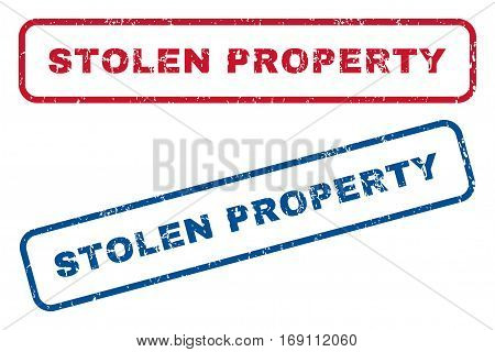 Stolen Property text rubber seal stamp watermarks. Vector style is blue and red ink tag inside rounded rectangular banner. Grunge design and dust texture. Blue and red stickers.