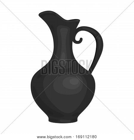 Clay jug of wine icon in monochrome design isolated on white background. Wine production symbol stock vector illustration.