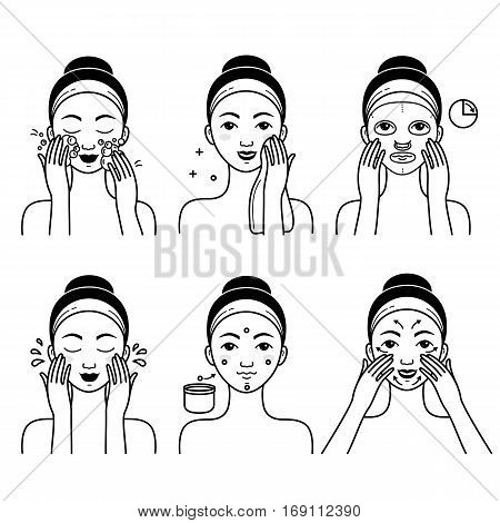 Face skin care set with girl isolated vector illustration. Girl washing her face, cleansing and applying cosmetic cream. Healthy lifestyle, face skincare hygiene procedures, facial mask and massage.