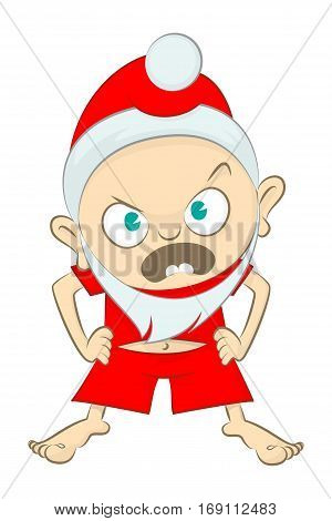 Vector Illustration Of A Angry Little Kid Dressed Like Santa Claus