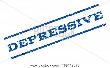 Depressive watermark stamp. Text tag between parallel lines with grunge design style. Rotated rubber seal stamp with dust texture. Vector blue ink imprint on a white background.