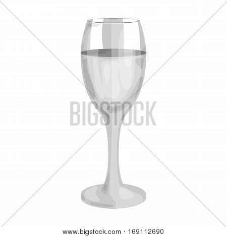 Glass of white wine icon in monochrome design isolated on white background. Wine production symbol stock vector illustration.