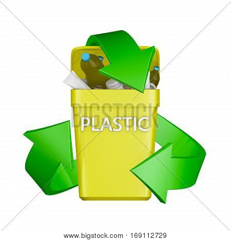 Recycling Sign And The Container