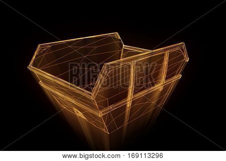 Dumpster in Hologram Wireframe Style. Nice 3D Rendering