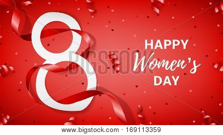 Elegant greeting banner for Women's Day. Top view on paper eight, serpentine and confetti. Vector illustration with red satin ribbon.