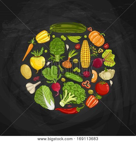Fresh vegetable round shape composition vector illustration. Natural vegetable backdrop, vegetarian nutrition, organic farming, vegan diet. zucchini, Cabbage, carrot, broccoli, garlic on blackboard