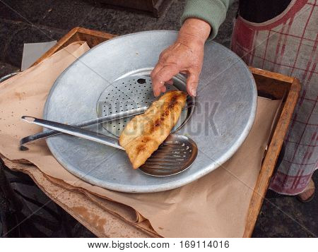 Fried Pizza  In The Street