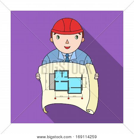 Architect with technical drawing icon in flat design isolated on white background. Architect symbol stock vector illustration.