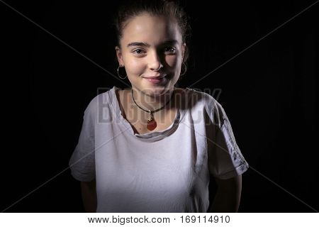 Portrait Of A Beautiful Woman With Black Background
