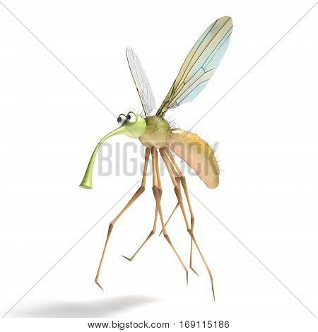 3D render image of stylized gnat isolated on the white. Cute mosquito.