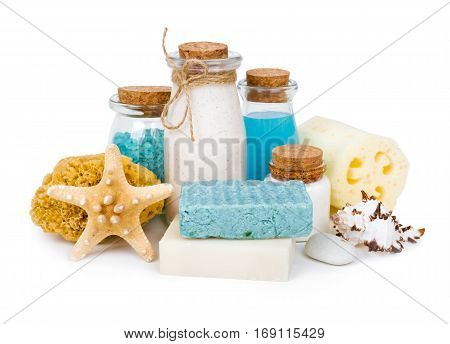 Composition of spa and wellness products isolated on white background