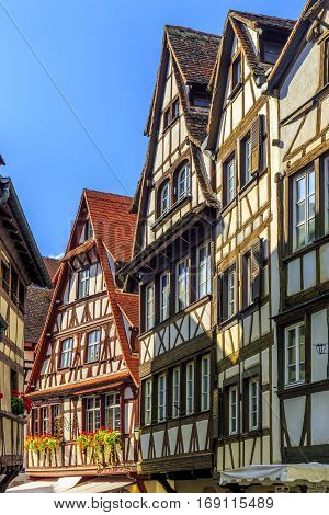 Traditional Half-timbered Houses In Historic Area Strasbourg, France.