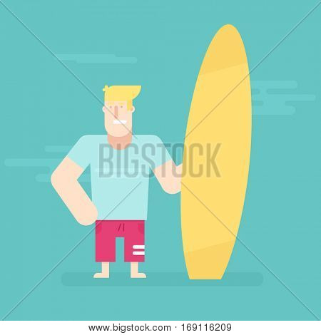 young man standing with surfboard. Flat character.
