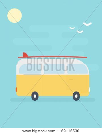 yellow van with surfboard.