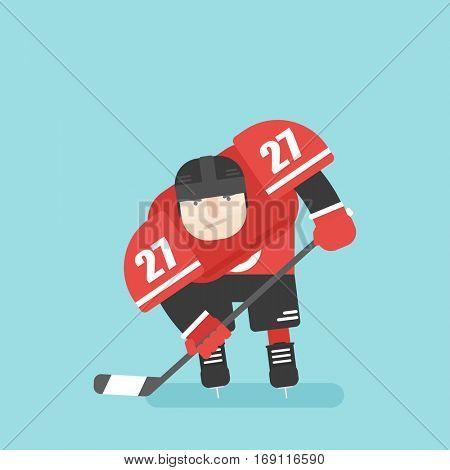 hockey player. flat character.
