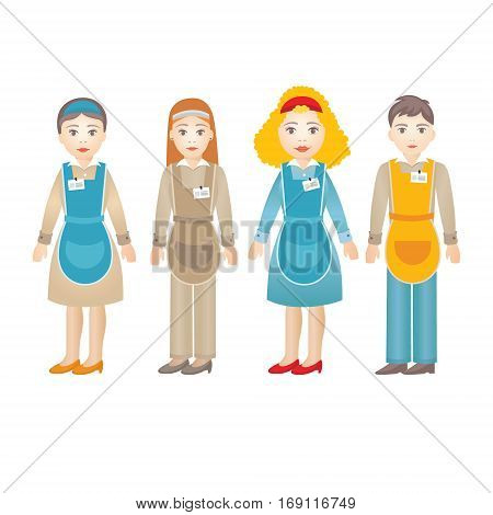 Salesman. Set of diverse shop assistants isolated on white background for marketing presentation or infographic in vector