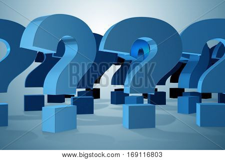 Question marks in uncertainty concept - 3d rendering