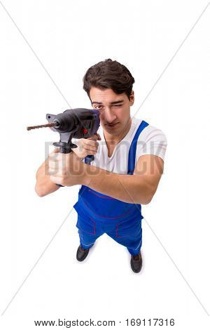 Funny repairman with drill isolated on white