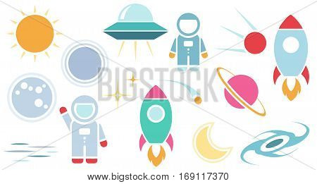Vector flat cosmos design background. Cute template with Astronaut Spaceship Rocket Moon Black Hole Stars