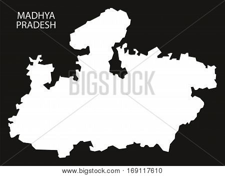Madhya Pradesh India Map black inverted silhouette graphic