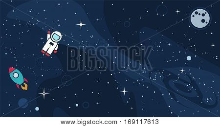 Vector flat space design background with text. Cute template with Astronaut Spaceship Rocket Moon Black Hole Stars in Outer space