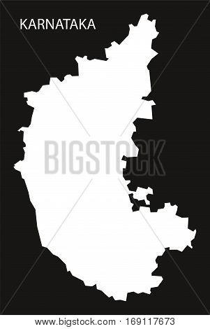 Karnataka India Map black inverted silhouette graphic