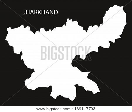 Jharkhand India Map black inverted silhouette graphic