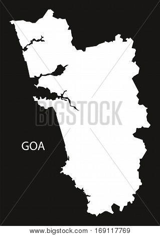 Goa India Map black inverted silhouette graphic